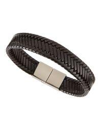 Link Up | Woven Leather Bracelet Black for Men | Lyst