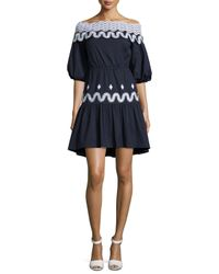 Peter Pilotto - Blue Off-the-shoulder Full-sleeve Dress - Lyst