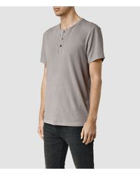 AllSaints | Natural Sever Short Sleeve Henley T-shirt for Men | Lyst