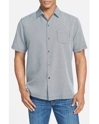 Tommy Bahama | Blue 'pacific Square' Island Modern Fit Silk & Cotton Camp Shirt for Men | Lyst