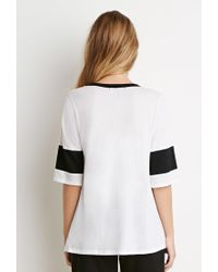 Forever 21 - White Striped V-neck Tee - Lyst
