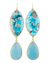 Devon Leigh | Metallic Turquoise Double-drop Earrings | Lyst