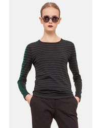 Akris Punto | Black Stripe Wool Sweater | Lyst