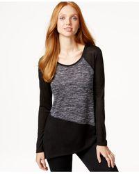 DKNY | Black Colorblocked Asymmetrical Raglan Top | Lyst