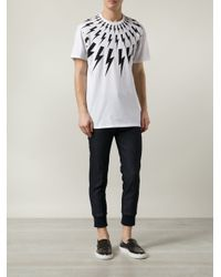 Neil Barrett - White Lightning Bolt T-Shirt for Men - Lyst