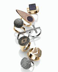 Sydney Evan   Metallic 2-finger Pave Diamond Cross Ring   Lyst