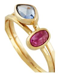 Melissa Joy Manning - Metallic Set Of Two 18karat Gold Sapphire and Ruby Rings - Lyst