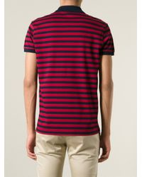 Saint Laurent - Red Striped Polo Shirt for Men - Lyst