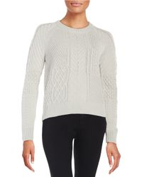 1.STATE | Metallic Cable Knit Sweater | Lyst