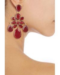 Oscar de la Renta - Red Goldtone Crystal Clip Earrings - Lyst