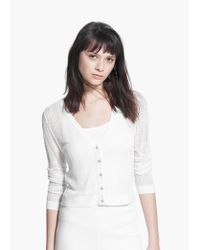 Mango - White Metallic Finish Cardigan - Lyst