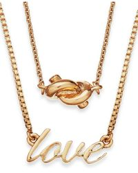 kate spade new york | Metallic Gold-tone Love And Knot Pendant Two-row Necklace | Lyst