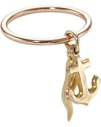Annina Vogel | Pink 9Ct Rose-Gold Vintage Anchor And Horn Charm Ring - For Women | Lyst