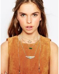 ASOS - Metallic Multirow Choker Spike Necklace - Lyst