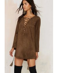 Nasty Gal - Brown Thrill Of The Lace Up Dress - Lyst
