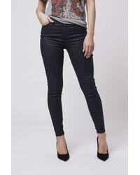 TOPSHOP - Blue Moto Navy Coated Jamie Jeans - Lyst