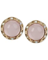 Betsey Johnson | Gold-tone Round Pink Stud Earrings | Lyst