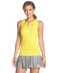 Adidas By Stella McCartney | Yellow Climalite Half Zip Racerback Tank | Lyst