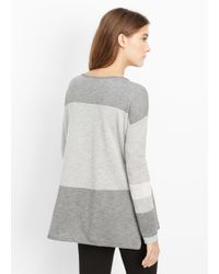 Vince - Gray Intarsia Colorblock Boatneck Sweater - Lyst