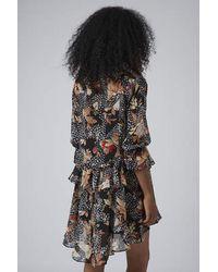 TOPSHOP - Black Toile Feather Print Shirt Dress - Lyst