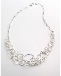 Lord & Taylor - Metallic Sterling Silver Three-strand Link Necklace - Lyst