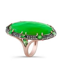 Anne Sisteron | Green 14kt Rose Gold Tsavorite Garnet Diamond Cocktail Ring | Lyst