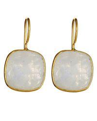 Margaret Elizabeth | Metallic Cushion Cut Drop Earrings, Moonstone | Lyst