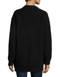 Michael Kors - Black Cashmere Shaker-Knit Zip Cardigan - Lyst
