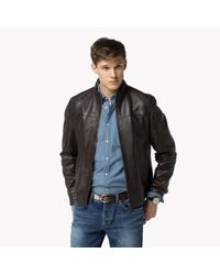 Tommy Hilfiger - Brown Leather Regular Fit Jacket for Men - Lyst