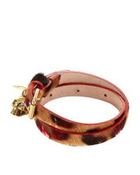 Alexander McQueen | Brown Skull Chain Double Wrap Leather Bracelet | Lyst