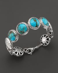 John Hardy - Blue Sterling Silver Palu Disc Bracelet With Turquoise - Lyst