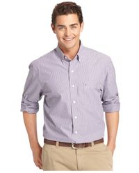 Izod | Purple Big And Tall Long-sleeve Striped Shirt for Men | Lyst