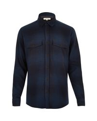 River Island - Blue Navy Check Soft Flannel Shirt for Men - Lyst
