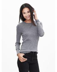 Banana Republic | Gray Ribbed Extra-fine Merino Wool Pullover | Lyst
