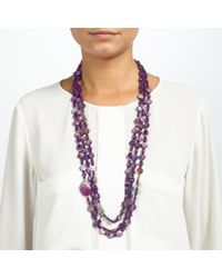 John Lewis - Purple Layered Long Drop Bead Necklace - Lyst