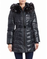 Kensie | Green Faux Fur-trimmed Puffer Coat | Lyst