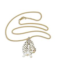 Kenneth Jay Lane | Metallic White Panther With Black Spots Pendant Necklace | Lyst