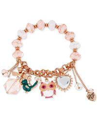 Betsey Johnson - Pink Rose Gold-Tone Owl Charm Stretch Bracelet - Lyst