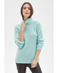 Forever 21   Green Ribbed Knit Turtleneck Sweater   Lyst