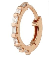 Stone | Pink Rose Gold Diamond Baguette Single Hoop Earring | Lyst
