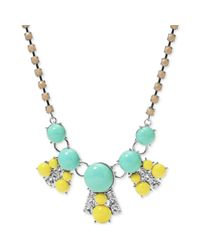 Fossil - Blue Silvertone Crystal And Colorful Stone Frontal Necklace - Lyst