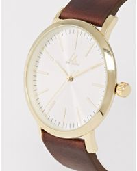 ASOS   Watch With Leather Strap In Brown for Men   Lyst