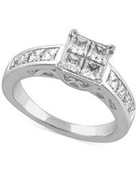 Macy's | Metallic Diamond Engagement Ring In 14k White Gold (2 Ct. T.w.) | Lyst