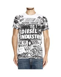 DIESEL | Black Print Crew Neck Regular Fit T-shirt for Men | Lyst