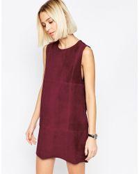 ASOS - Purple Suede Tunic Dress - Lyst
