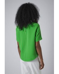 TOPSHOP - Green Shaped Hem Tee - Lyst