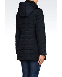 Armani Jeans - Blue Hooded Down Jacket In Technical Fabric - Lyst
