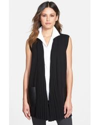 Lafayette 148 New York | Black Faux Leather Pocket Ribbed Collar Sweater Vest | Lyst