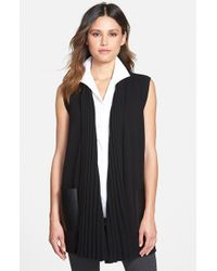 Lafayette 148 New York - Black Faux Leather Pocket Ribbed Collar Sweater Vest - Lyst