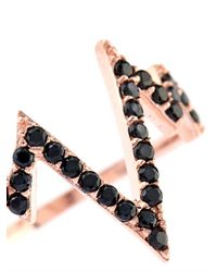Aamaya By Priyanka | Black Lifeline Topaz & Rose-Gold Plated Phalanx Ring | Lyst